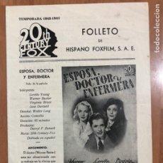Cine: GUIA HISPANO FOXFILM ESPOSA DOCTOR Y ENFERMERA.WARNER BAXTER LORETTA YOUNG VIRGINIA BRUCE. Lote 205556100