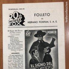 Cine: GUIA HISPANO FOXFILM EL SIGNO DEL ZORRO.TYRONE POWER LINDA DARNELL. Lote 205556551