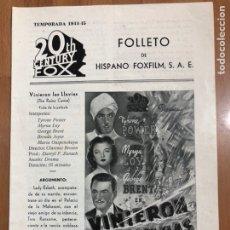 Cine: GUIA HISPANO FOXFILM VINIERON LAS LLUVIAS.TYRONE POWER MYRNA LOY. Lote 205556617