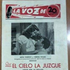 Cine: GUIA LA VOZ DE 20TH CENTURY FOX.GENE TIERNEY QUE EL CIELO LA JUZGUE.TYRONE POWER. Lote 205609510