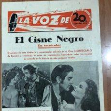 Cine: GUIA LA VOZ DE 20TH CENTURY FOX.EL CISNE NEGRO.TYRONE POWER. Lote 205609547