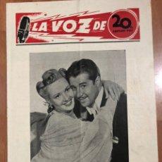 Cine: GUIA LA VOZ DE 20TH CENTURY FOX BETTY GRABLE.AVENTURAS DE BUFFALO BILL MAUREEN O,HARA. Lote 205609586