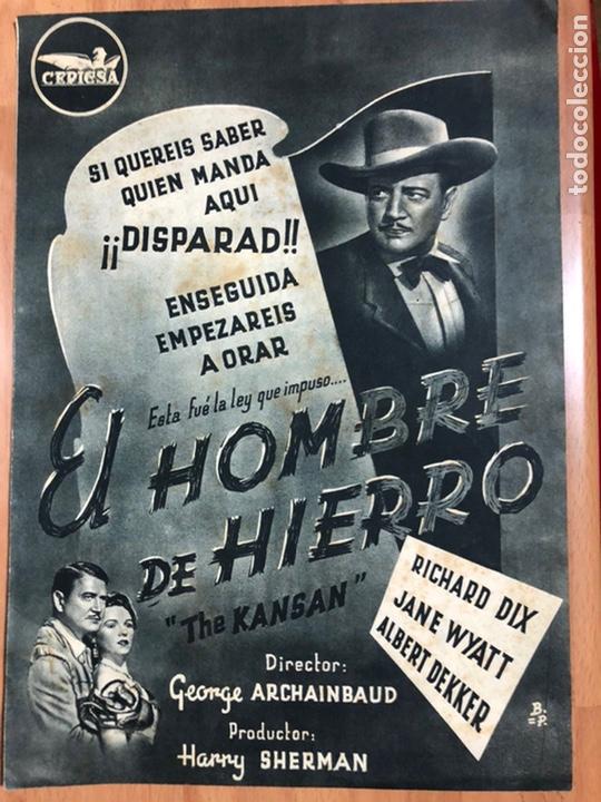GUIA CEPICSA EL HOMBRE DE HIERRO.THE KANSAN.RICHARD DIX,JANE WYATT (Cine - Guías Publicitarias de Películas )
