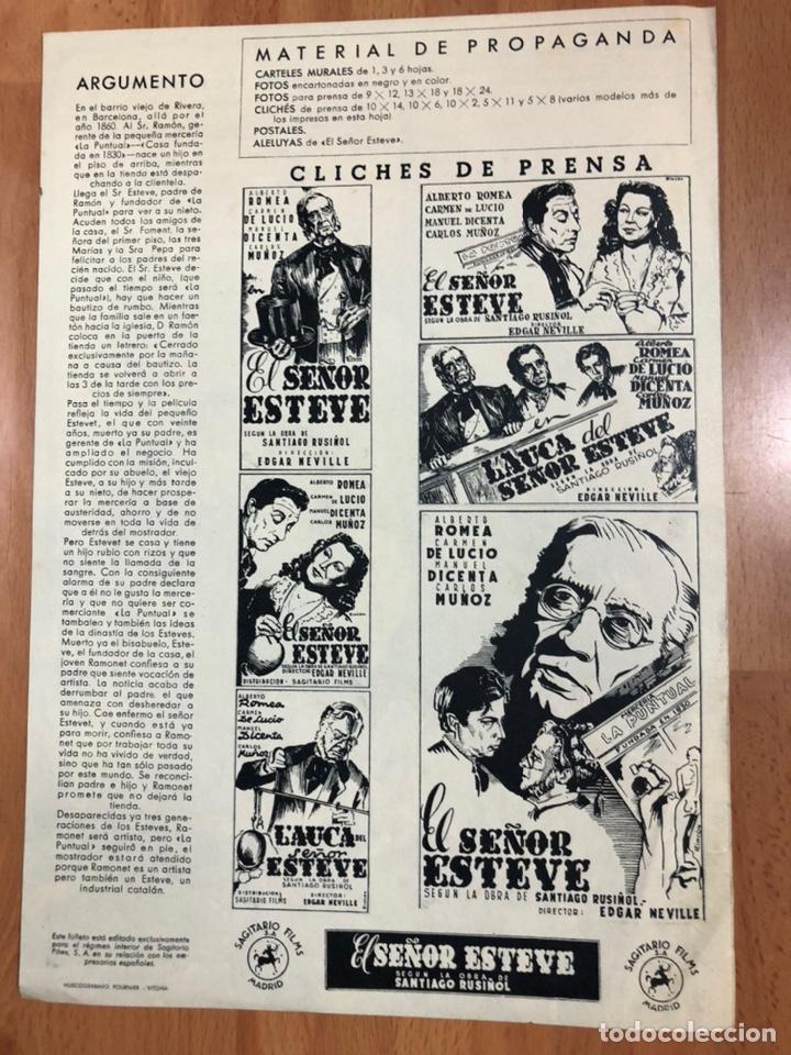 Cine: Guia sagitario films el señor Esteve.alberto Romea,Carmen de lucio,Manuel dicenta.edgar neville - Foto 3 - 206402963