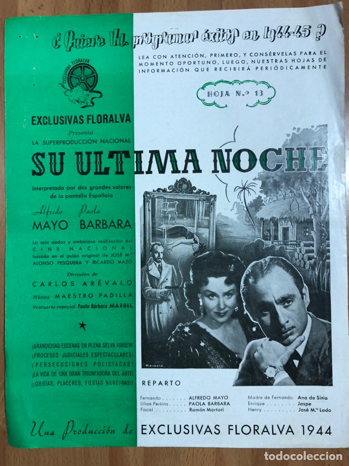 GUIA EXCLUSIVAS FLORALVA SU ÚLTIMA NOCHE.ALFREDO MAYO PAOLA BARBARA (Cine - Guías Publicitarias de Películas )