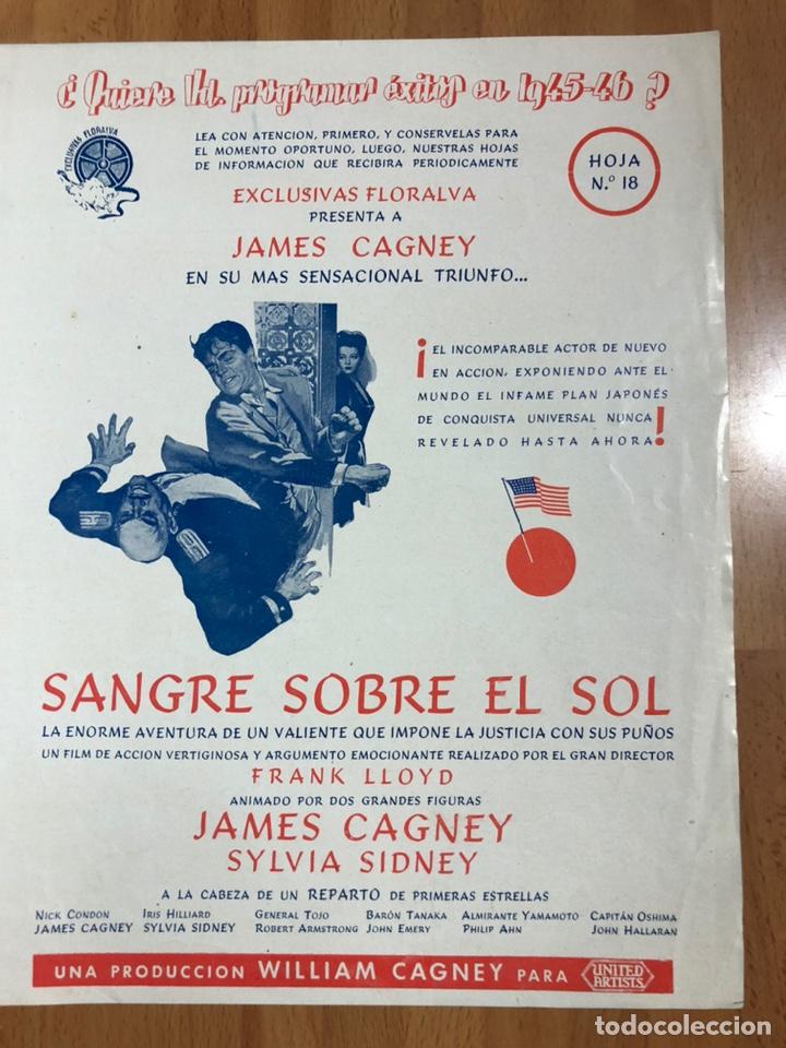 GUIA EXCLUSIVAS FLORALVA SANGRE SOBRE EL SOL.JAMES CAGNEY Y SYLVIA SIDNEY (Cine - Guías Publicitarias de Películas )