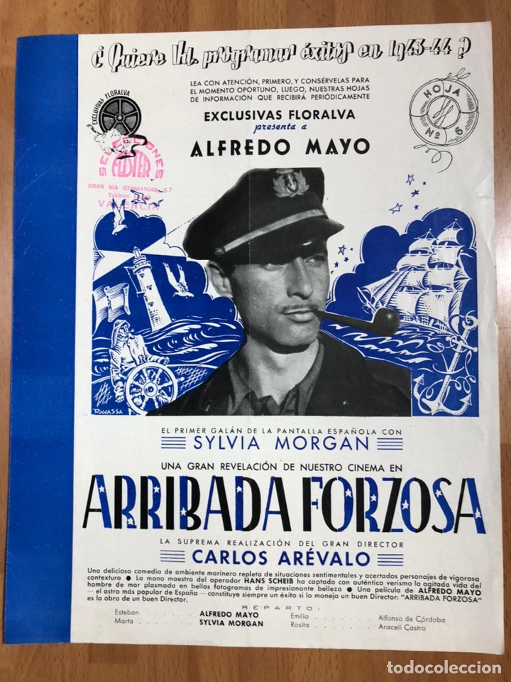 GUIA EXCLUSIVAS FLORALVA ARRIBADA FORZOSA.ALFREDO MAYO,SYLVIA MORGAN (Cine - Guías Publicitarias de Películas )