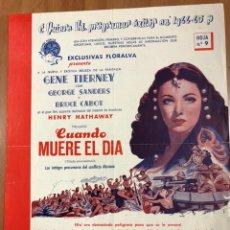 Cine: GUIA EXCLUSIVAS FLORALVA CUANDO MUERE EL DÍA.GENE TIERNEY GEORGE SANDERS. Lote 206406833