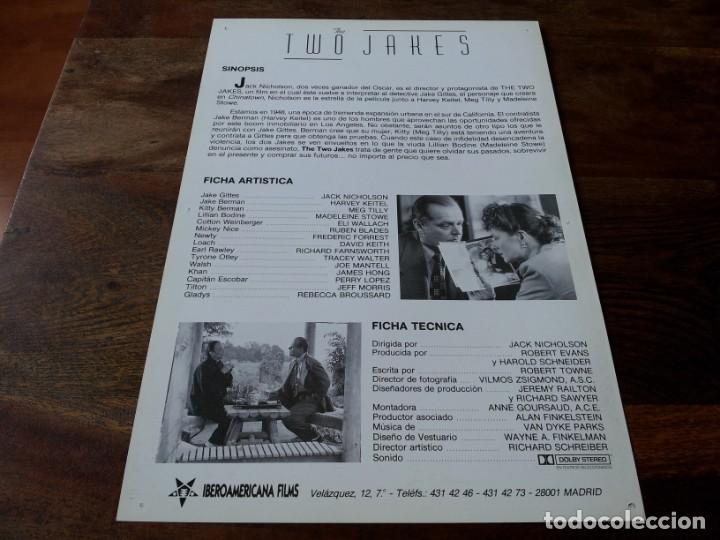 Cine: the two jakes - harvey keitel, jack nicholson,meg tilly, eli wallach - guia original u.i.p año 1990 - Foto 2 - 207033617