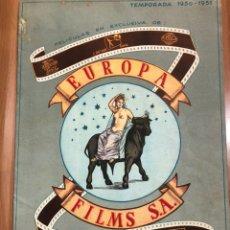 Cine: GUIA CATÁLOGO EUROPA FILMS TEMPORADA 1950.EL FAROL AZUL.ADAN Y ELLA.ESCALERA AL OLIMPO. Lote 207184102