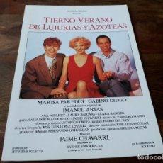 Cine: TIERNO VERANO DE LUJURIAS Y AZOTEAS - IMANOL ARIAS,MARISA PAREDES,GABINO DIEGO GUIA ORIGINAL WARNER. Lote 207230702