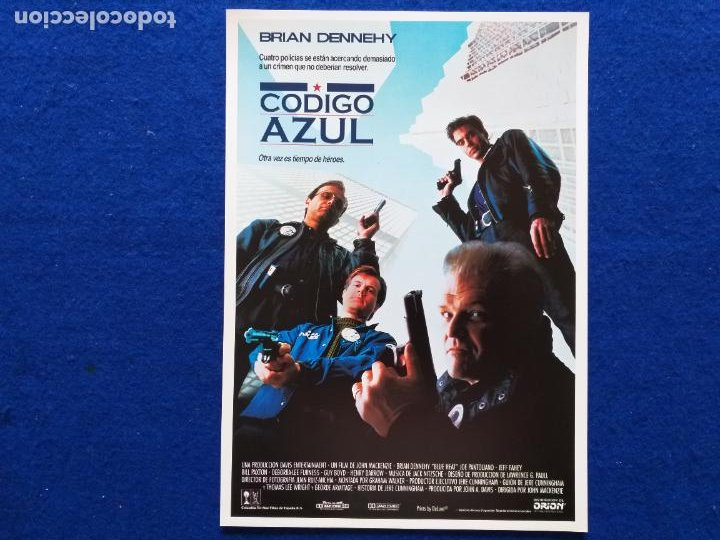 GUIA: CODIGO AZUL. CON: BRIAN DENNEHY, JOE PANTOLIANO, JEFF FAHEY. AÑO 1990. (Cine - Guías Publicitarias de Películas )