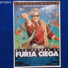 Cine: GUIA: FURIA CIEGA. RUTGER HAUER. CON: NICK PARKER. Lote 208001037