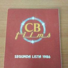 Cine: LISTA DE MATERIAL C.B FILMS SEGUNDA LISTA 1986. Lote 210311512