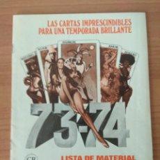 Cine: LISTA DE MATERIAL C.B FILMS 1973-74. Lote 210312068