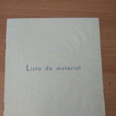 Cine: LISTA DE MATERIAL SUEVIA FILMS 1943-44. Lote 210317187
