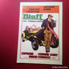 Cine: GUIA DE CINE -BLUFF LOS EMBROLLONES 1976 - ANTHONY QUINN - ADRIANO CELENTA-4 PAGINAS -EXCELENTE - L2. Lote 211507132