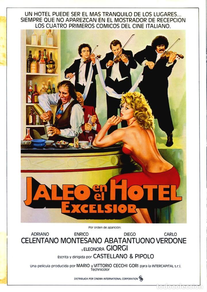 JALEO EN EL HOTEL EXCELSIOR GUÍA ORIGINAL DOBLE CON FOTOS DE SU ESTRENO EN ESPAÑA ADRIANO CELENTANO (Cine - Guías Publicitarias de Películas )