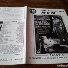 Cine: REGRESO AL HOGAR - ROBERT MITCHUM, BRENDA VACCARO - GUIA ORIGINAL M.G.M AÑO 1972. Lote 218909921