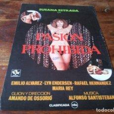 Cine: PASION PROHIBIDA - SUSANA ESTRADA, LYN ENDERSEN, EMILIO ALVAREZ - GUIA ORIGINAL STUDIO AÑO 1982. Lote 218911836