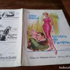 Cine: BROTES DE PASION - LANA TURNER, GEORGE HAMILTON, JOHN STURGES - GUIA ORIGINAL FUSTER AÑO 1967. Lote 218912412