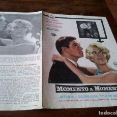 Cine: MOMENTO A MOMENTO - JEAN SEBERG, MERVYN LEROY - GUIA ORIGINAL AÑO 1969 DIPENFA. Lote 218917276
