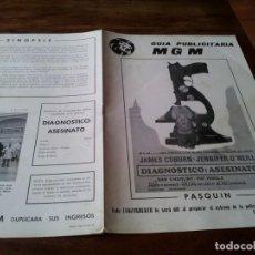 Cine: DIAGNOSTICO ASESINATO - JAMES COBURN,JENNIFER O'NEILL, BLAKE EDWARDS - GUIA ORIGINAL M.G.M AÑO 1972. Lote 218917820