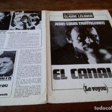 Cine: EL CANALLA LE VOYOU - JEAN LOUIS TRINTIGNANT, CLAUDE LELOUCH - GUIA ORIGINAL CB FILMS AÑO 1972. Lote 218960677