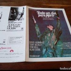 Cine: TODO UN DIA PARA MORIR - DAVID HEMMINGS, TONY BECKLEY - GUIA ORIGINAL PARAMOUNT AÑO 1968. Lote 218961010
