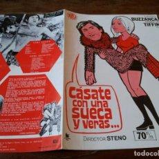 Cine: CASATE CON UNA SUECA Y VERAS - LANDO BUZZANCA, PAMELA TIFFIN - GUIA ORIGINAL DIASA AÑO 1973 JANO. Lote 218963452