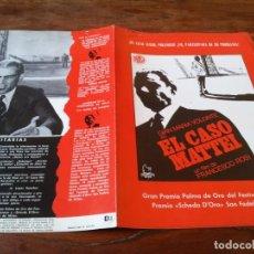 Cine: EL CASO MATTEI - GIAN MARIA VOLONTE, FRANCESCO ROSI - GUIA ORIGINAL DIASA AÑO 1973 JANO. Lote 218963715