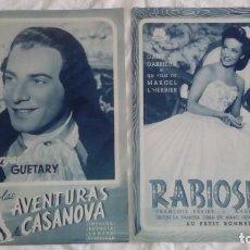 Cine: 2 GUIAS DE CINE RABIOSILLA Y LAS AVENTURAS DE CASANOVA. Lote 219289971
