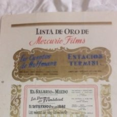 Cine: DIFICIL LISTA DE ORO TEMPORADA DE MERCURIO FILMS 1953 - 54 CON 10 TITULOS DE PELICULAS. Lote 219514613