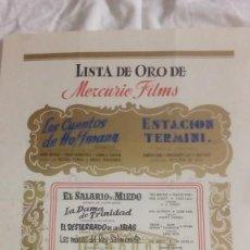 Cine: DIFICIL LISTA DE ORO TEMPORADA DE MERCURIO FILMS 1953 - 54 CON 10 TITULOS DE PELICULAS. Lote 219514743