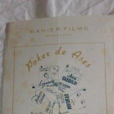 Cine: GUIA DE CINE MAHIER FILMS POKER DE ASES 4 TITULOS DE PELICULAS - LETRAS DORADAS. Lote 219517480