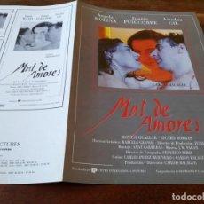 Cinema: MAL DE AMORES - ÁNGELA MOLINA, JUANJO PUIGCORBÉ, ARIADNA GIL - GUIA ORIGINAL U.I.P AÑO 1993. Lote 220290163
