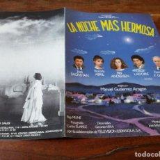 Cine: LA NOCHE MÁS HERMOSA - JOSÉ SACRISTÁN, VICTORIA ABRIL, PEP MUNE - GUIA ORIGINAL C B FILMS AÑO 1984. Lote 220595833