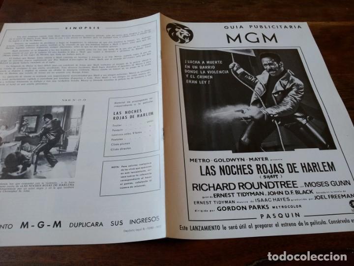 LAS NOCHES ROJAS DE HARLEM - RICHARD ROUNDTREE, MOSES GUNN - GUIA ORIGINAL M.G.M AÑO 1972 (Cine - Guías Publicitarias de Películas )