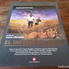 Cine: EL IMPERIO DEL LEÓN - JEAN-PAUL BELMONDO, CLAUDE LELOUCH - GUIA ORIGINAL CENTRAL AÑO 1988. Lote 220882730