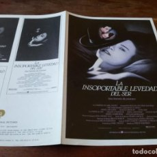 Cinéma: LA INSOPORTABLE LEVEDAD DEL SER - DANIEL DAY-LEWIS, JULIETTE BINOCHE - GUIA ORIGINAL U.I.P AÑO 1987. Lote 220986500