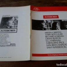 Cinéma: INTERIORES - DIANE KEATON, MARY BETH HURT, GERALDINE PAGE - GUIA ORIGINAL CB FILMS AÑO 1978. Lote 220988390