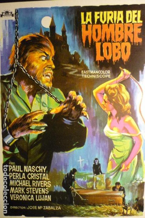 GUIA DOBLE LA FURIA DEL HOMBRE LOBO - PAUL NASCHY -DIBUJO OLIGO (Cine - Guías Publicitarias de Películas )
