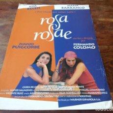Cine: ROSA ROSAE - ANA BELEN, MARIA BARRANCO, FERNANDO COLOMO - GUIA ORIGINAL WARNER 1993. Lote 222232712