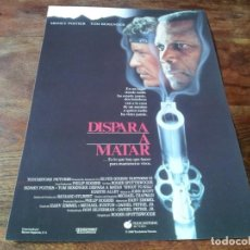 Cine: DISPARA A MATAR - SIDNEY POITIER, TOM BERENGER, KIRSTIE ALLEY - GUIA ORIGINAL WARNER 1988. Lote 222644227