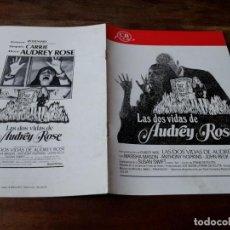 Cinéma: LAS DOS VIDAS DE AUDREY ROSE - ANTHONY HOPKINS, MARSHA MASON,JOHN BECK - GUIA ORIGINAL CB FILMS 1977. Lote 222827343