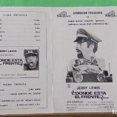 Cine: GUIA DE CINE - DONDE ESTA EL FRENTE - JERRY LEWIS - 4 PAGINAS - EXCELENTE - L 12. Lote 222916488