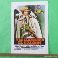 Cine: GUIA DE CINE - Y LE LLAMABAN EL HALCON - GIANNI GARKO - 4 PAGINAS -EN CARTILINA - EXCELENTE - L 12. Lote 222922127