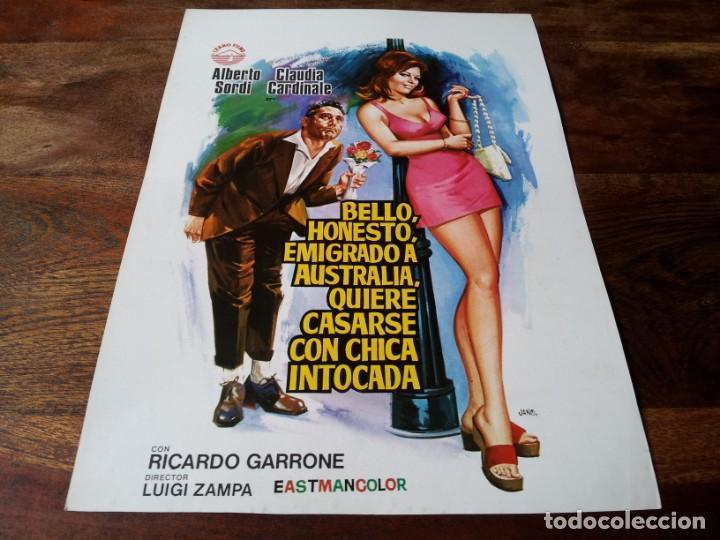BELLO,HONESTO,EMIGRADO A AUSTRALIA - ALBERTO SORDI,CLAUDIA CARDINALE - GUIA ORIGINAL IZARO 1972 JANO (Cine - Guías Publicitarias de Películas )