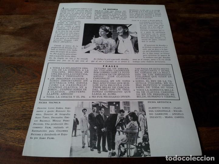 Cine: Bello,honesto,emigrado a Australia - Alberto Sordi,Claudia Cardinale - guia original izaro 1972 jano - Foto 2 - 224110156