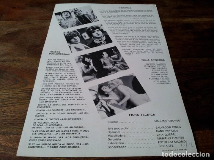 Cine: Los bingueros - Fernando Esteso, Andrés Pajares, africa pratt - guia original izaro 1979 jano - Foto 2 - 224111142